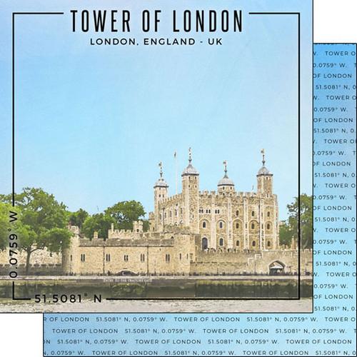Scrapbook Customs 12x12 Travel Themed Paper: Coordinates - Tower of London