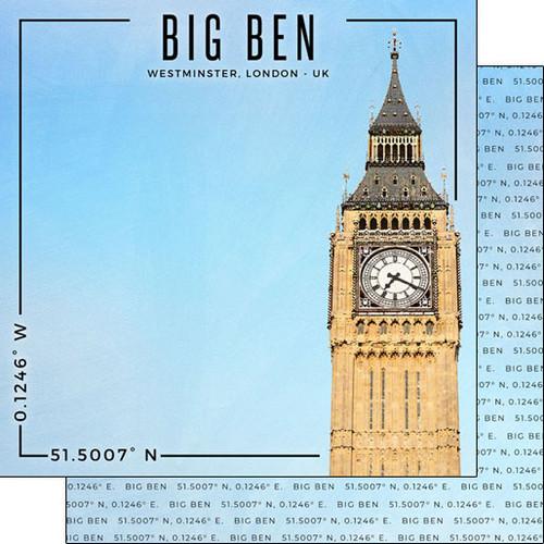 Scrapbook Customs Travel Coordinates 12x12 Paper: Big Ben