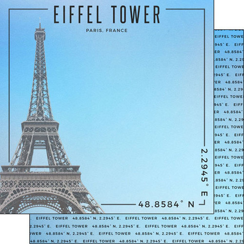 Scrapbook Customs Travel Coordinates 12x12 Paper: Eiffel Tower
