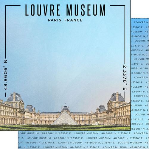 Scrapbook Customs Travel Coordinates 12x12 Paper: Louvre Museum