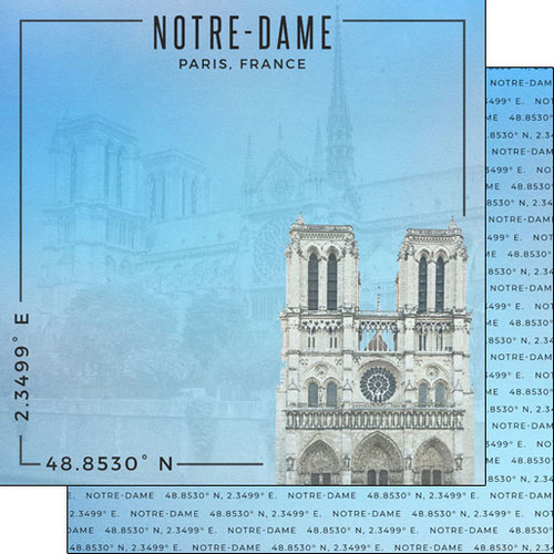 Scrapbook Customs Travel Coordinates 12x12 Paper: Notre Dame