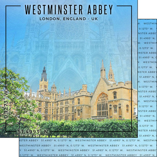 Scrapbook Customs 12x12 Travel Themed Paper: Coordinates - Westminster Abbey