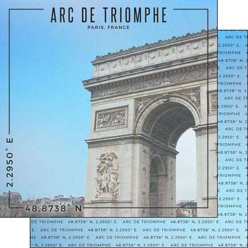 Scrapbook Customs 12x12 Travel Themed Paper: Coordinates - Arc de Triomphe