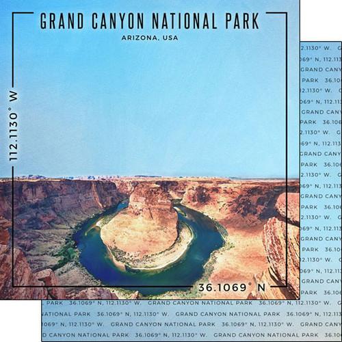 Scrapbook Customs Travel Coordinates 12x12 Paper: Grand Canyon National Park