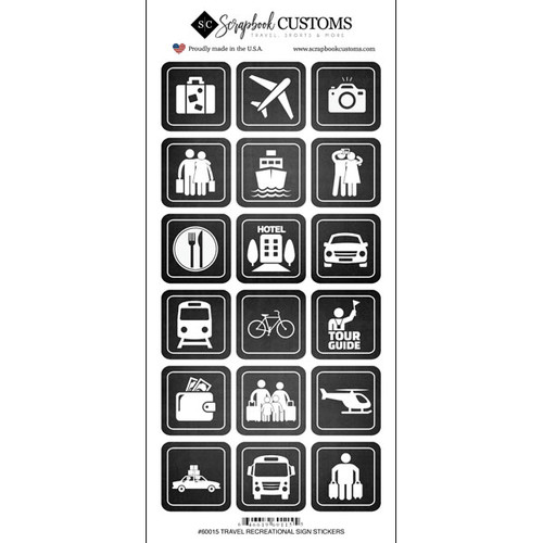 Scrapbook Customs Sticker: Travel Coordinates Signs