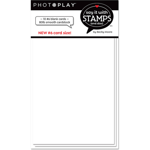 PhotoPlay Say It With Stamps: #6 Blank White Scored Card (10pk)