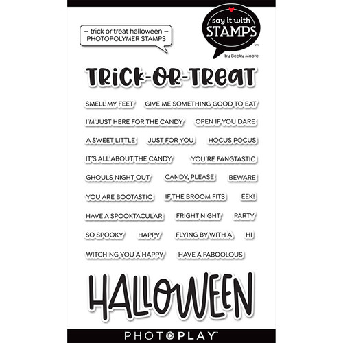 """PhotoPlay Say It With Stamps: Trick/Treat/Halloween 4""""x6"""" Word Stamp"""