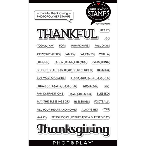 "PhotoPlay Say It With Stamps: Thankful/Thanksgiving 4""x6"" Word Stamp"