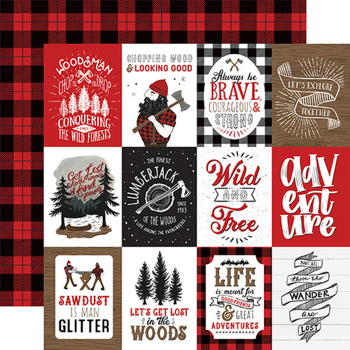 Echo Park Let's Lumberjack 12x12 Paper: 3X4 Journaling Cards