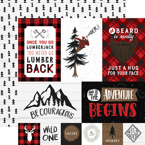 Echo Park Let's Lumberjack 12x12 Paper: Multi Journaling Cards