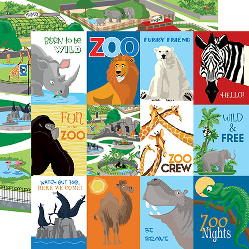 Carta Bella Zoo Adventure 12x12 Paper: 3X4 Journaling Cards