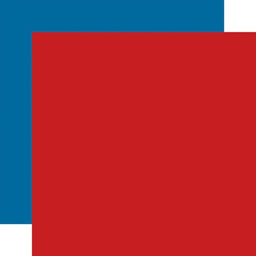 Carta Bella Zoo Adventure 12x12 Paper: Red / Blue (Coordinating Solid)