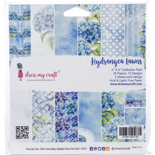 Dress My Craft 6x6 Paper Pad: Hydrangea Lawns