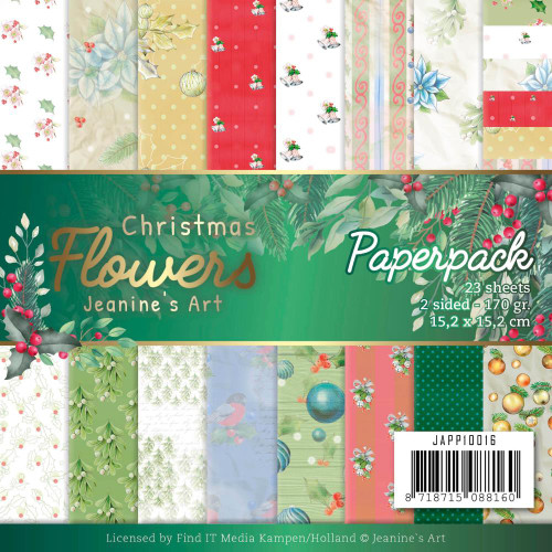 Find-It Media 6x6 Paper Pad: Christmas Flowers