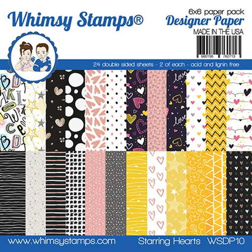 Whimsy Stamps 6x6 Paper Pad: Starring Hearts