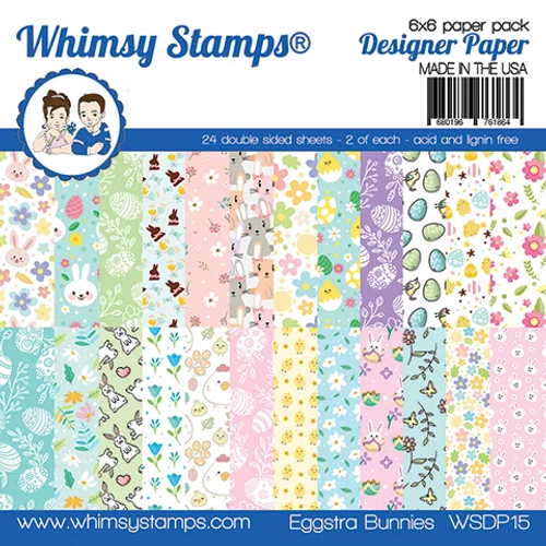 Whimsy Stamps 6x6 Paper Pad: Eggstra Bunnies