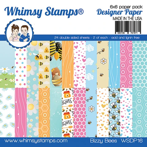 Whimsy Stamps 6x6 Paper Pad: Bizzy Bees