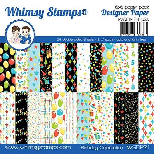 Whimsy Stamps 6x6 Paper Pad: Birthday Celebration