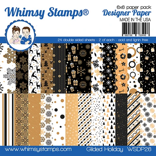 Whimsy Stamps 6x6 Paper Pad: Gilded Holiday