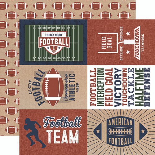 Echo Park Football 12x12 Paper: 4X6 Journaling Cards