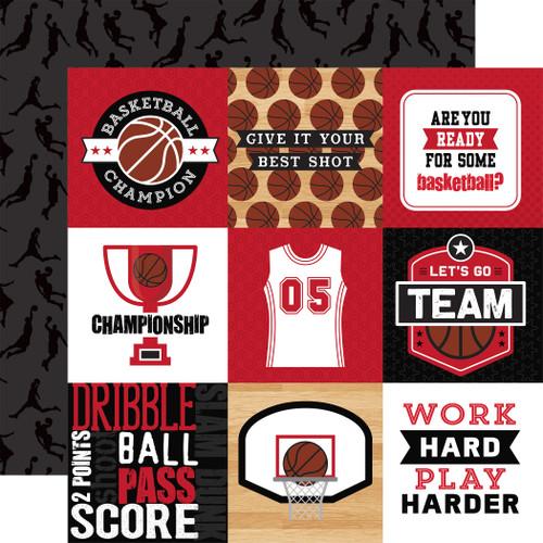Echo Park Basketball 12x12 Paper: 4X4 Journaling Cards