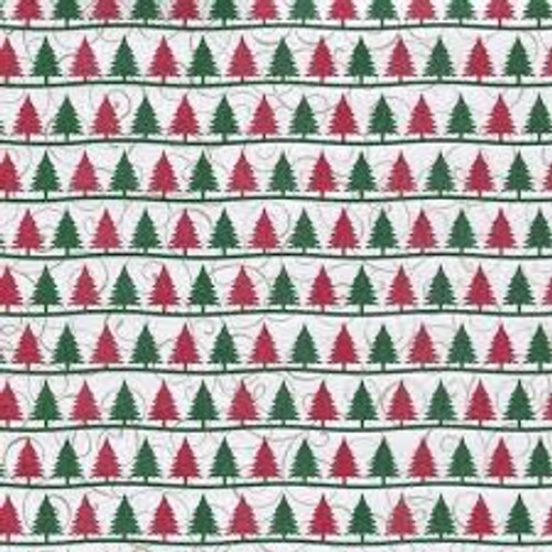 Reminisce Christmastime 12x12 Glittered Paper: Christmas Trees (single-sided)