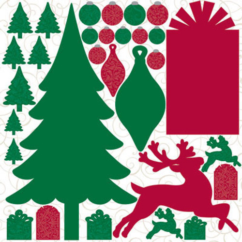 Reminisce Christmastime 12x12 Diecut Stickers w/Glitter Accents