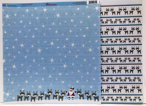 Reminisce Santa's Workshop 12x12 Shimmer Paper: Santa's Friends
