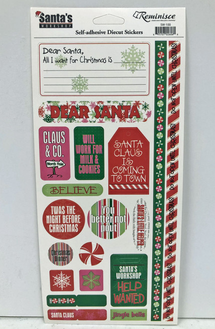 Reminisce Santa's Workshop 4x9 Sticker Sheet