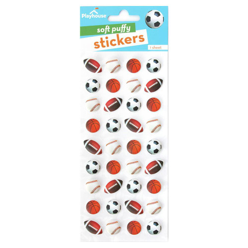 Paper House Playhouse Puffy Sticker: Mixed Sports Balls