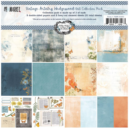 49 and Market Vintage Artistry 6x6 Paper Pad: Wedgewood