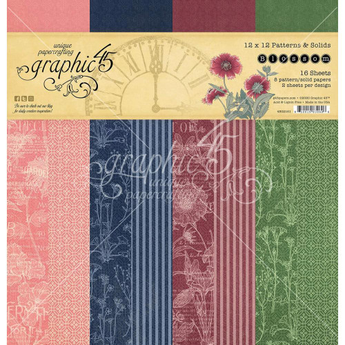 Graphic 45 Blossom 12x12 Patterns & Solids Paper Pad