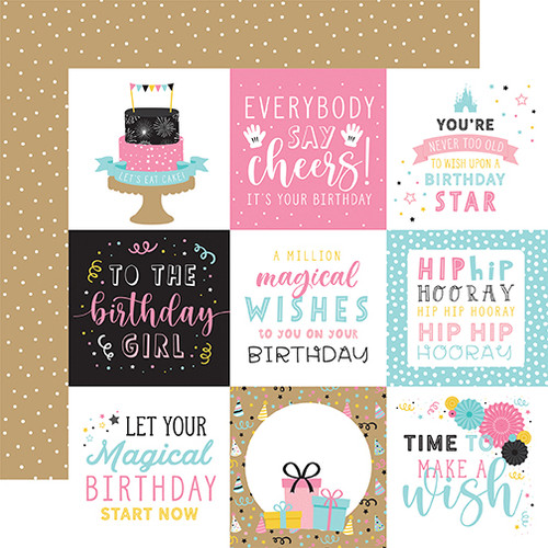 Echo Park Magical Birthday Girl 12x12 Paper: 4x4 Journaling Cards
