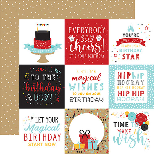 Echo Park Magical Birthday Boy 12x12 Paper: 4x4 Journaling Cards