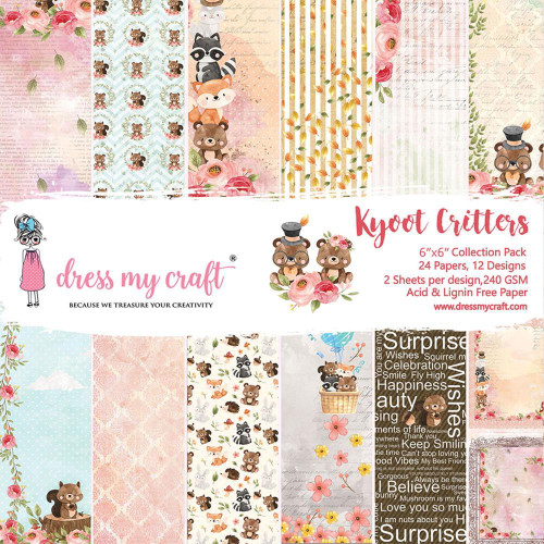 Dress My Craft 6x6 Paper Pad: Kyoot Critters