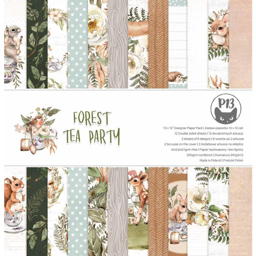 P13 12x12 Paper Pad: Forest Tea Party