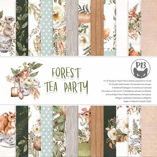 P13 6x6 Paper Pad: Forest Tea Party