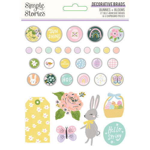 Simple Stories Bunnies + Blooms Decorative Brads