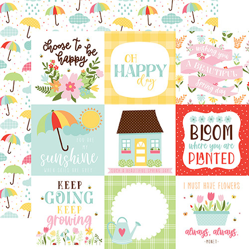 Echo Park Welcome Spring 12x12 Paper: 4x4 Journaling Cards