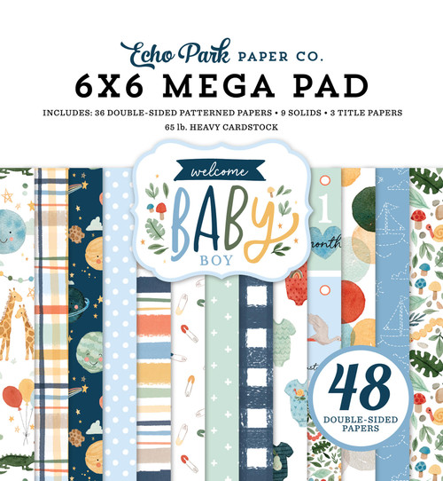 Echo Park Welcome Baby Boy Cardmakers 6x6 Mega Pad
