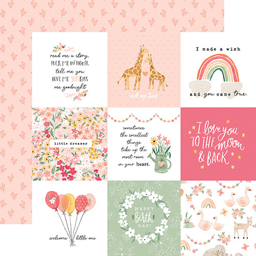 Echo Park Welcome Baby Girl 12x12 Paper: 4x4 Journaling Cards