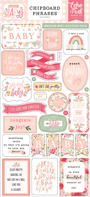 Echo Park Welcome Baby Girl 6x13 Chipboard Phrases