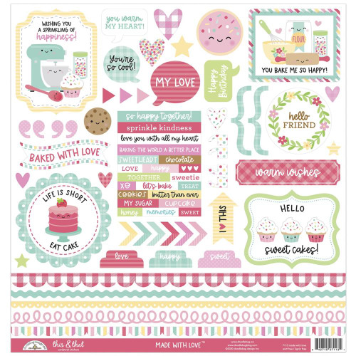 Doodlebug Made with Love Stickers: This & That