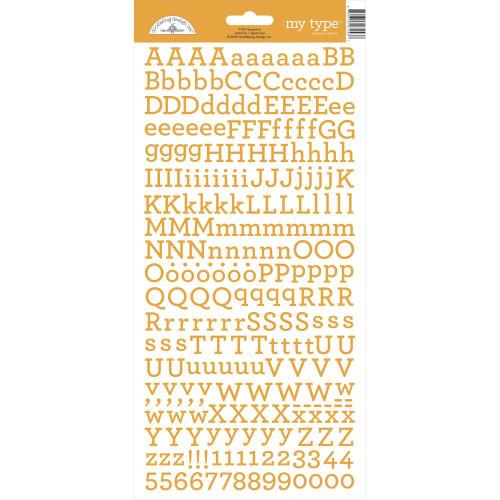 Doodlebug My Type Alpha Stickers: Tangerine