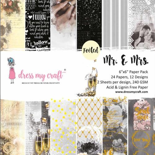 Dress My Craft 6x6 Paper Pad: Mr. & Mrs.