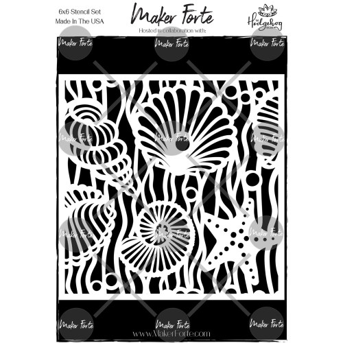 Maker Forte 6x6 Stencil: Sea Shells