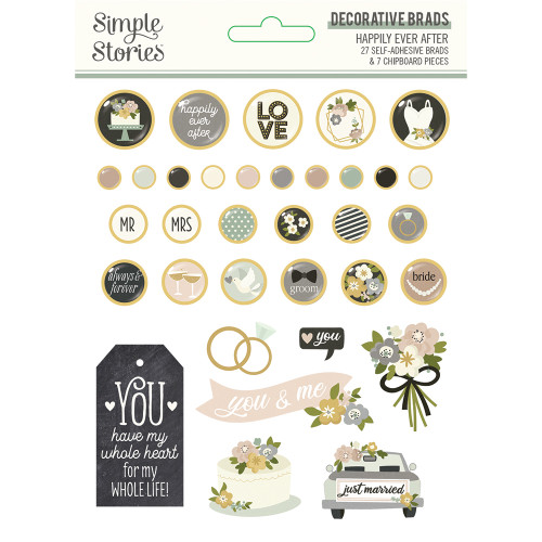 Simple Stories Happily Ever After Decorative Brads