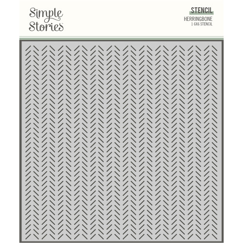 Simple Stories Happily Ever After 6x6 Stencil: Herringbone