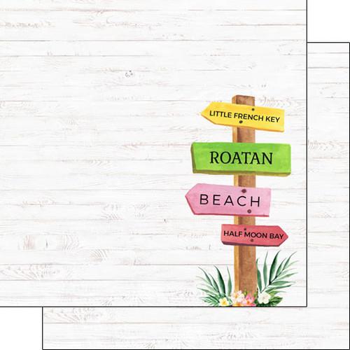 Scrapbook Customs 12x12 Travel Themed Paper: Vacay - Roatan, Honduras Sign