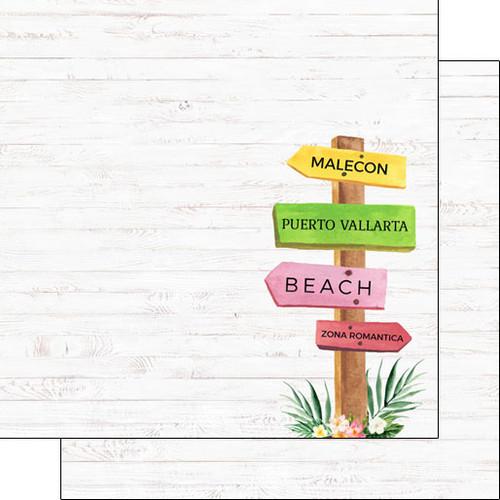 Scrapbook Customs 12x12 Travel Themed Paper: Vacay - Puerto Vallarta Sign